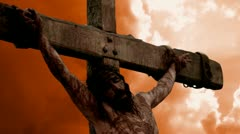 Jesus Christ church crucified crucify Religion cross crown crucifix lord savior Stock Footage