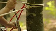 Stock Video Footage of Instructing before descent by rope HD