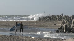 Surfer in Denmark - stock footage