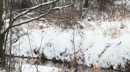 Stock Video Footage of river flows in winter. panorama
