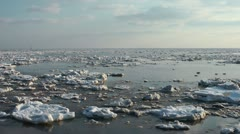 Ice drift, Jade bay at Wilhelmshaven, Germany Stock Footage