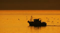 Silhouette boat morocco 2/3 Stock Footage