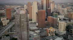Aerial view of city skyscrapers, Los Angeles, USA Stock Footage