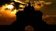 Portugal Arco da Rua Augusta sunset - stock footage