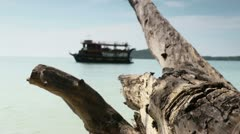 Tourist boat, tropical island and beach, Sihanoukville, Cambodia, Asia Stock Footage