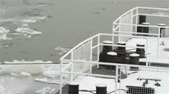 Ice on River 12 dock Stock Footage