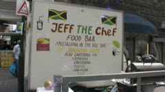 Jamaican hot food van Stock Footage