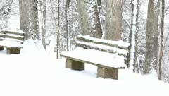 snowy bench - stock footage
