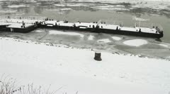 Ice on River 22 dock Stock Footage