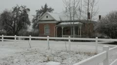 Old house while snowing Stock Footage