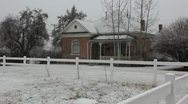 Stock Video Footage of old house while snowing