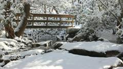 Bridge over creek in winter Stock Footage