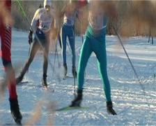 Skiers racing Stock Footage