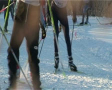 Skiers racing. Close-up - stock footage