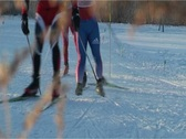 Skiers racing (Close-up) Stock Footage