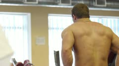 Body builder sportsman training Stock Footage