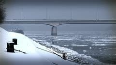 Ice on River 39 bridge stylized Stock Footage