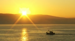 Fishing cutter sunrise tangier Stock Footage