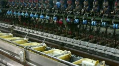 Silkworm cocoon at silk factory.Workers reeling at workshop. Stock Footage