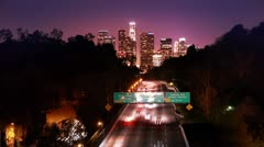 Los Angeles night freeway traffic. Timelapse. - stock footage
