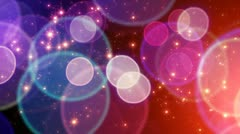 Red blue big circle bokeh lights and sparkles loop Stock Footage