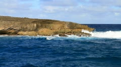 Pacific Ocean Crashes into Laie Point in Hawaii Stock Footage