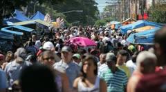 Crowd, Brazilian People, Street Market, Farmer Market - Sao Paulo, Brazil. - stock footage