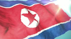 3d flag North Korea Stock Footage