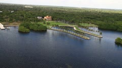 Aerial view of the Deering Estate, Miami, Florida Stock Footage