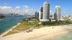 Aerial view of South Pointe Park, South Beach Stock Footage