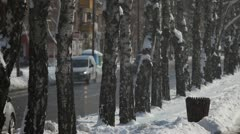 Winter and Snow in city - stock footage
