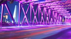 Bridge Traffic of City, Timelapse Stock Footage