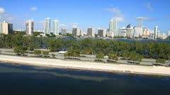 Aerial view of Rickenbacker Causeway, Miami, Florida Stock Footage