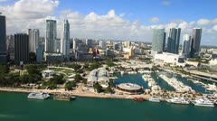 Aerial view of Bayside Marketplace, Miami, Fl. Stock Footage