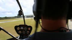 Pilot Landing Helicopter Stock Footage