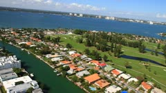 Aerial view of Normandy Shores Golf Club Miami Beach Stock Footage