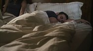 Caucasian Female Working In Bed Night Happy Stock Footage