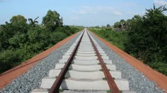 TRAIN TRACKS PERSPECTIVE: new train tracks perspective Stock Footage