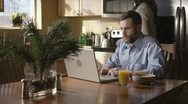Caucasian Male Working In Kitchen Mad Stock Footage