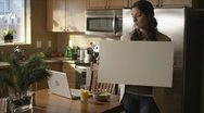 Caucasian Female In Kitchen Sign Happy Stock Footage