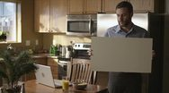 Caucasian Male In Kitchen Sign Upset Stock Footage