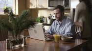 Caucasian Male Working In Kitchen Upset Stock Footage