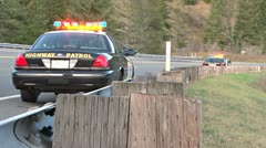 CHP on Roadside at Accident Scene 1 Stock Footage