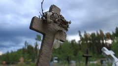 Wooden cross grave marker Stock Footage