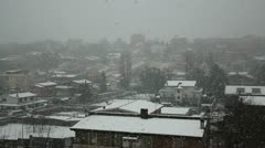 City in snow winter Stock Footage