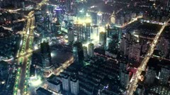 Bird's eye view of Shanghai at night. time lapse Stock Footage