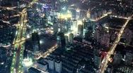 Stock Video Footage of Bird's eye view of Shanghai at night. time lapse