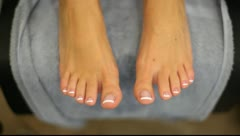 Young Woman Excited for New Pedicure Stock Footage