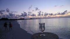 Turks and Caicos Sun purple sunset with  film movement HD Stock Footage