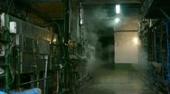 Stock Video Footage of Factory filled with steam.dim light,Valve,Pipeline,Boiler.